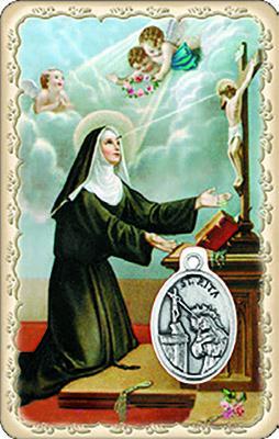 Pvc con medaglia e preghiera S. Rita