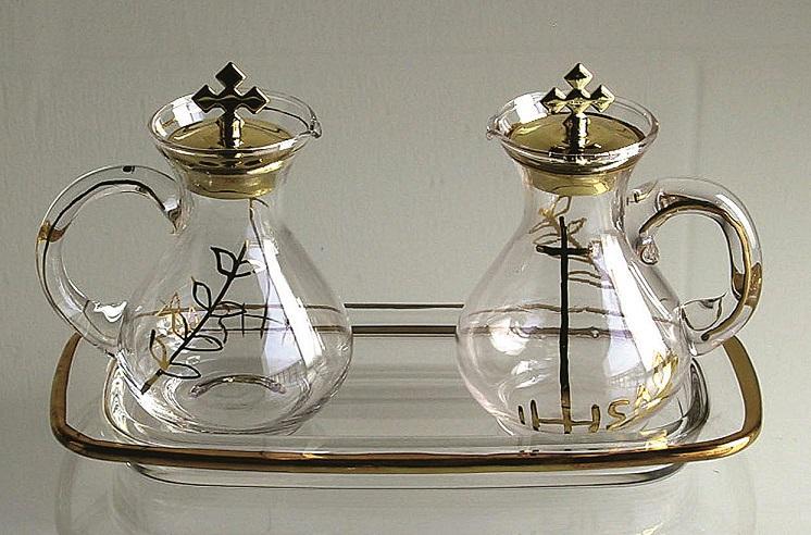 Ampolline con decoro su vassoio vetro