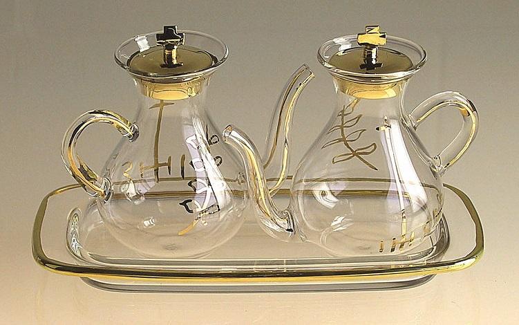 Ampolline beccuccio con decoro su vassoio vetro