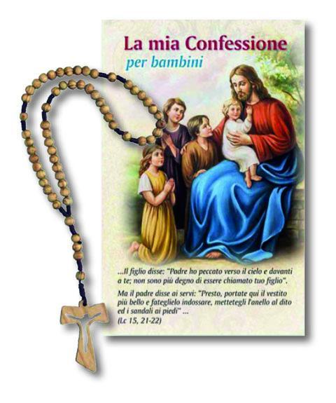 Cartoncino Confessione con rosario legno