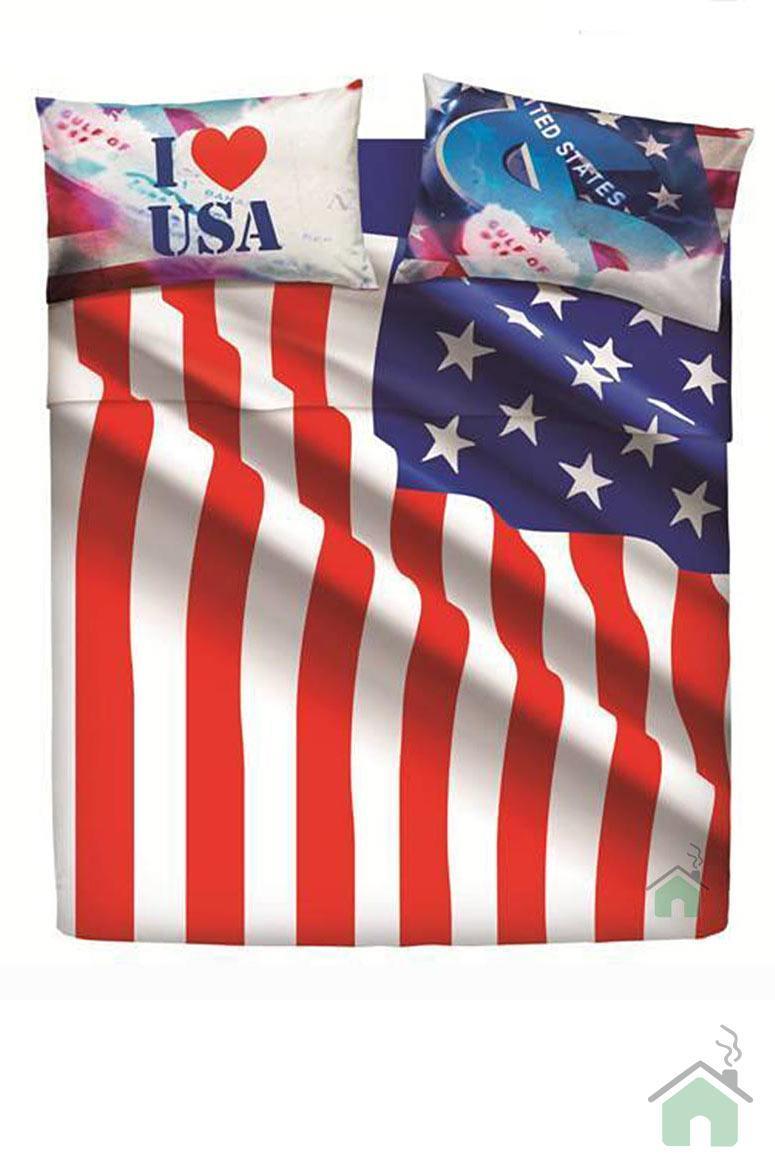 Bassetti lenzuola letto matrimoniale Bandiera 1 sopra 1 sotto 2 federe USA FLAG