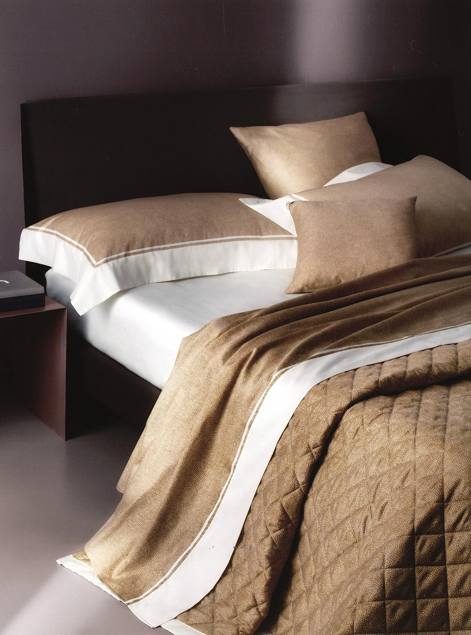 Borbonese Casa Collection.Satin Quilted Bedspread Double Borbonese Sand 270x260 Brown