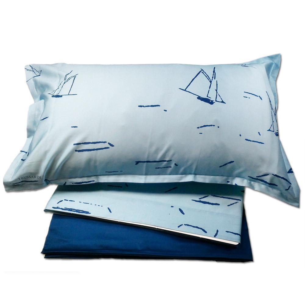 Set lenzuola matrimoniale Trussardi LANDSCAPE raso di cotone azzurro