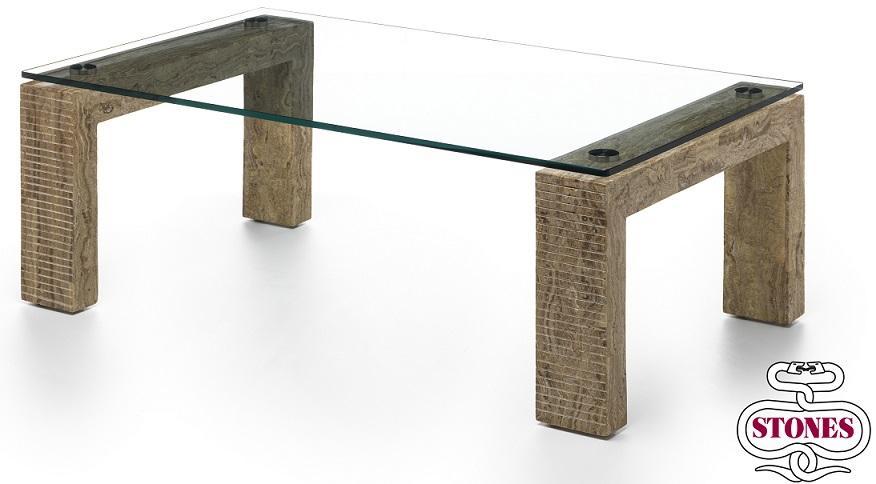 Tavolino da Salotto Millerighe Pietra FossilStone e Vetro