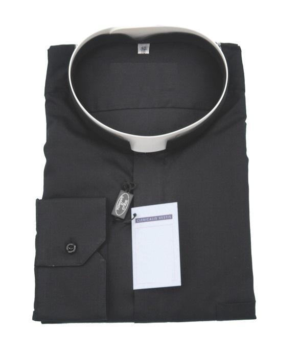 Camicia collo romano popeline - manica lunga