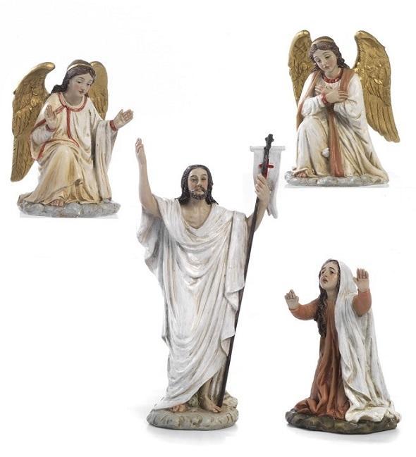 Gesù Risorto e angeli cm. 14 (4 pz)