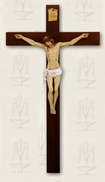 Croce legno corpo resina cm. 95