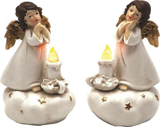 Angioletto in preghiera con luce led cm. 11,5