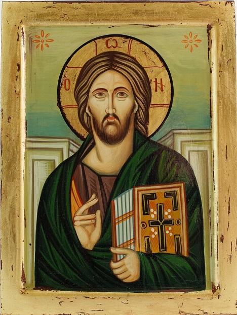 Icona greca dipinta Cristo del Sinai cm. 19x25