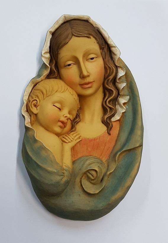 Placca grande Madonna con Bimbo cm. 22