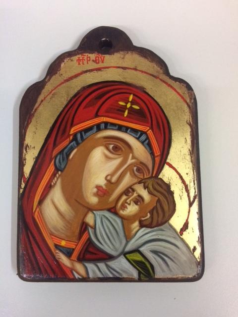 Icona greca dipinta Madonna con Bambino cm.13x18