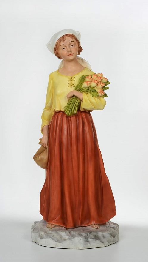 Donna con fiori - presepio cm. 65