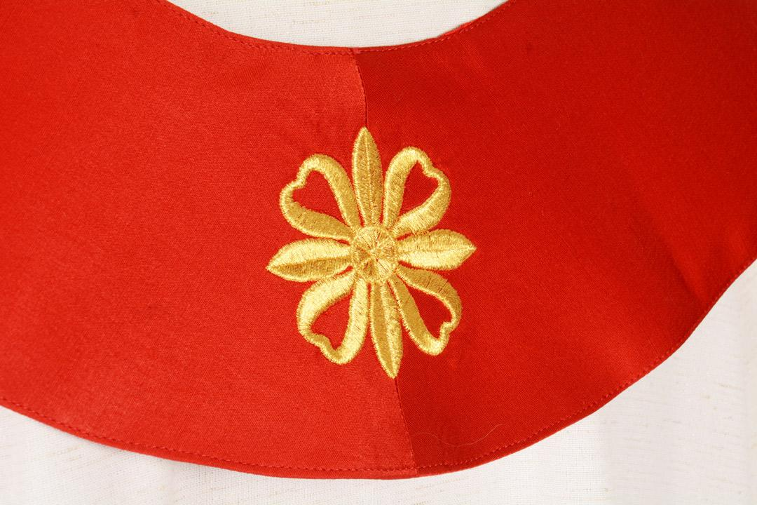 Stola S25A M1 Rossa Fiore Antico - Faille Misto Lana