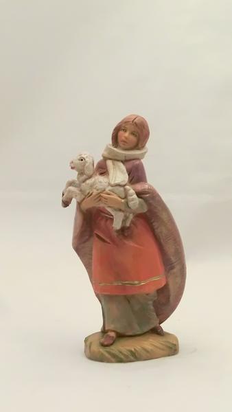Donna con agnello cm. 12