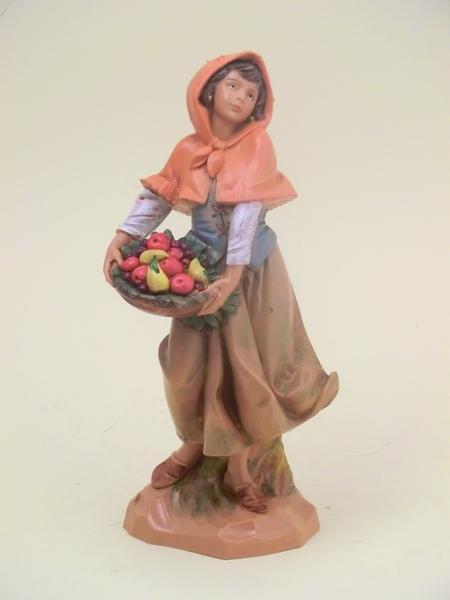 Donna con cesto cm. 19