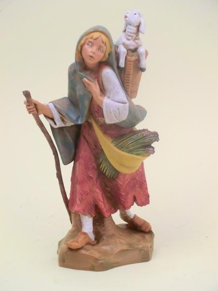 Donna con gerla e agnello cm. 19