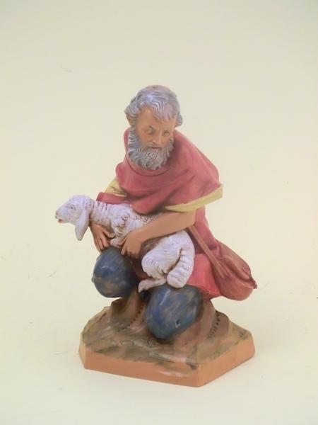 Pastore seduto con pecora cm. 19