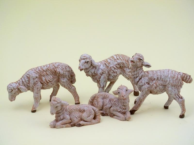 Serie 5 pecore sfumate cm. 12