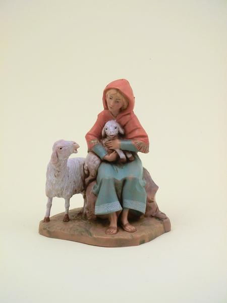 Donna con pecora e agnello cm. 12
