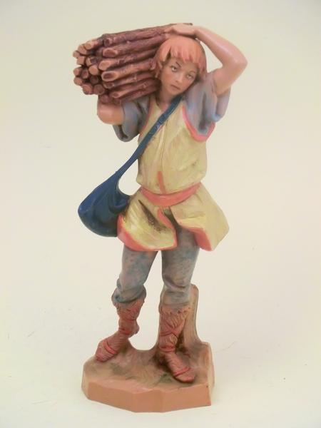 Pastore con fascina di legna cm. 19
