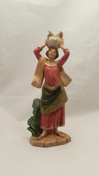 Donna con gallina cm. 19