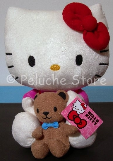 Hello Kitty Peluche 25 cm con accessorio Qualità Velluto Cuore Orsetto Regalo Torta