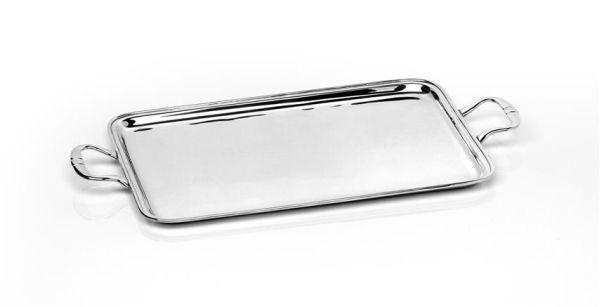 Vassoio rettangolare argentato argento con manici
