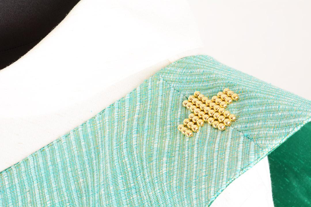 Stola Diaconale con Perle SPD310 M1 Verde - Seta Greggia Lurex