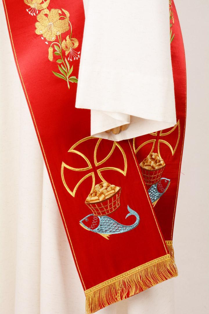 Stola Diaconale SD6 M0 Rossa - Faille Misto Lana