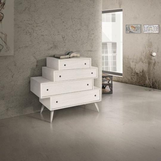 Cassettiera a cassetti sfalsati Abete Spazzolato 110x45 cm H 95 cm
