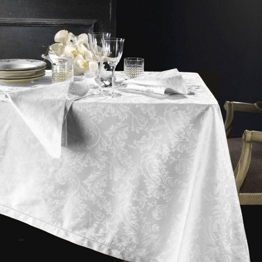 Tovaglia rotonda PIAZZA PITTI Ø 180 cm fiandra con 8 tovaglioli bianco Manuela