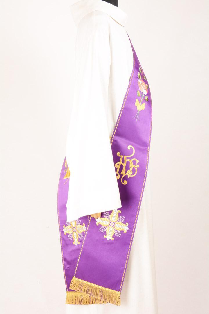 Stola Diaconale SD4 M0 Viola - Faille Misto Lana