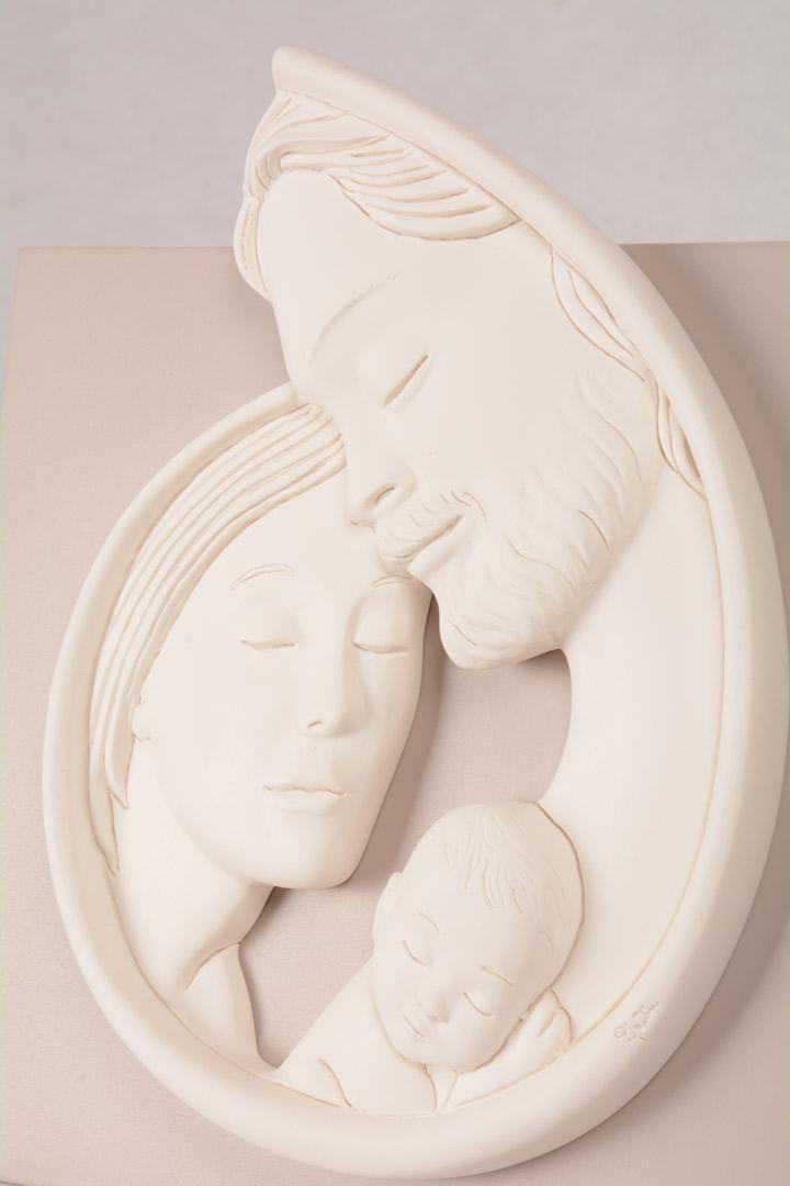 Quadretto Sacra Famiglia Bianco Luna 5962B 23x23 cm