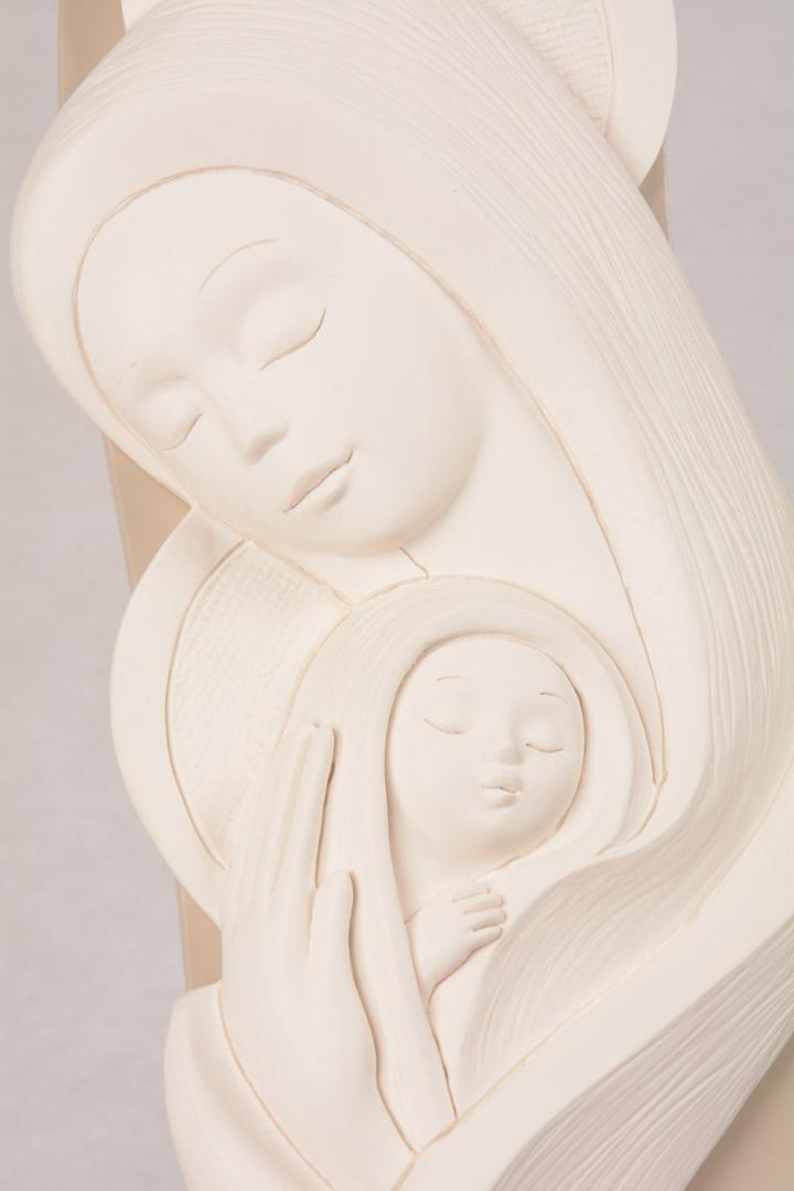 Bassorilievo Madonna con Bambino Bianco Luna 4753B 41,5x15,5 cm