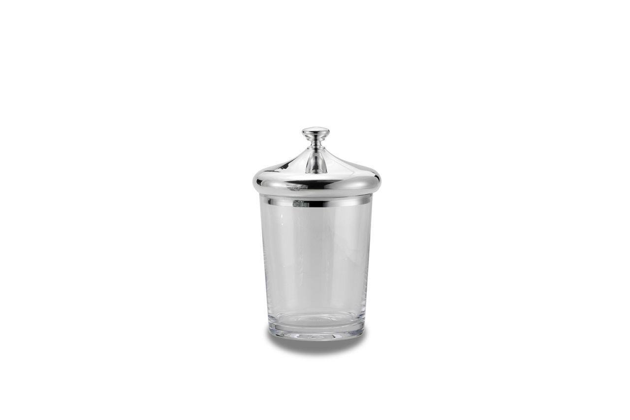Scatola vetro con coperchio argentato argento stile Cardinale cm.21h diam.13