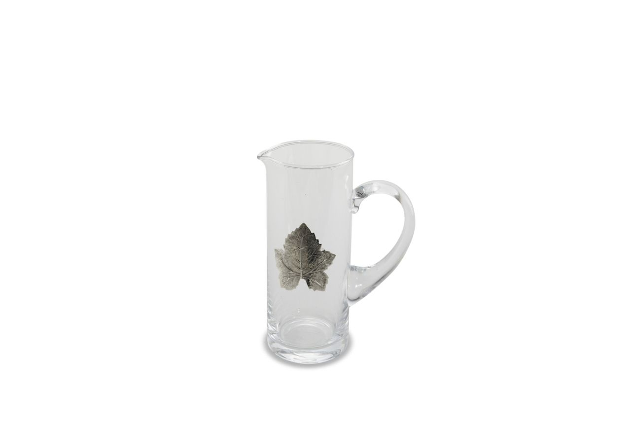 Caraffa in vetro con foglie argentate argento da 500 ml