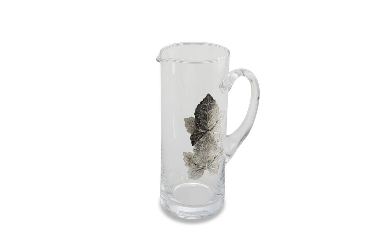 Caraffa in vetro con foglie argentate argento da 750 ml cm.20h diam.9