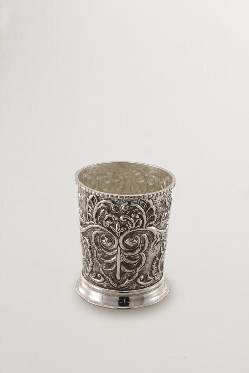 Portaposate argentato argento sheffield cesellato cm.13,5h diam.11