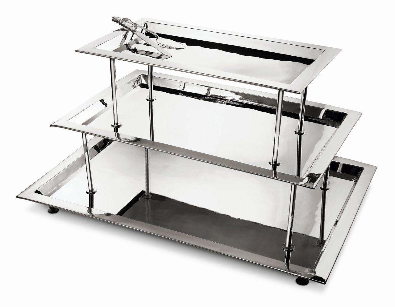 Vassoio rettangolare tre piani buffet stile Cardinale argentato argento sheffield cm.101x70x54h