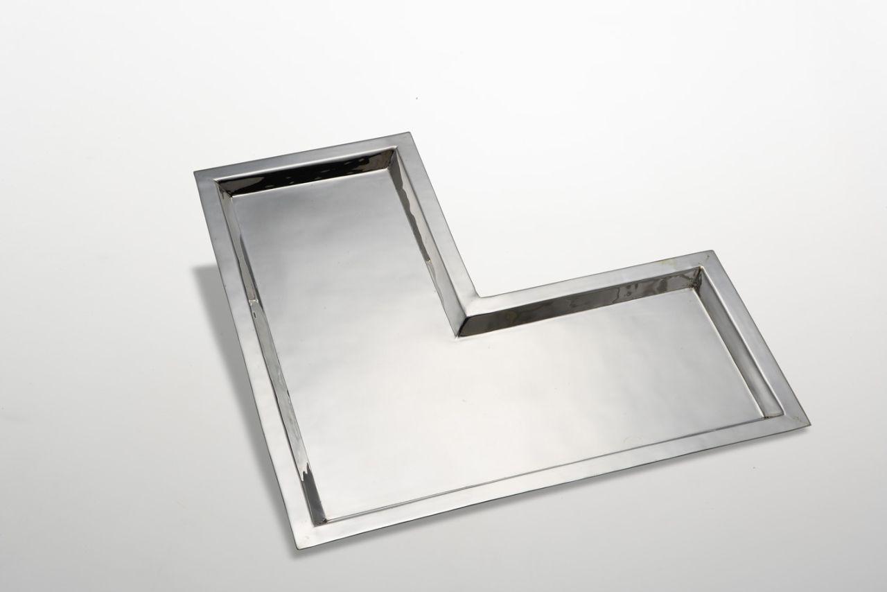 Vassoio angolare elle argentato argento sheffield stile Cardinale cm.51x51 diam.25
