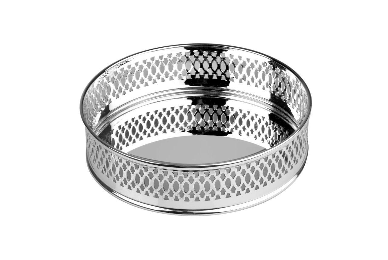 Sottobicchiere argentato argento stile traforato cm.3h diam.12,5