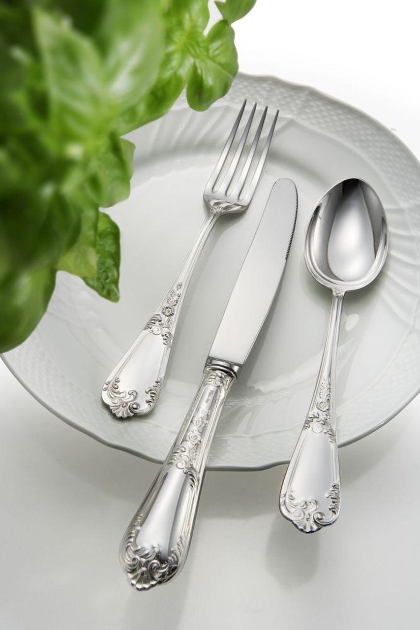 Forchetta frutta stile Floreale epns argentato argento cm.17,6