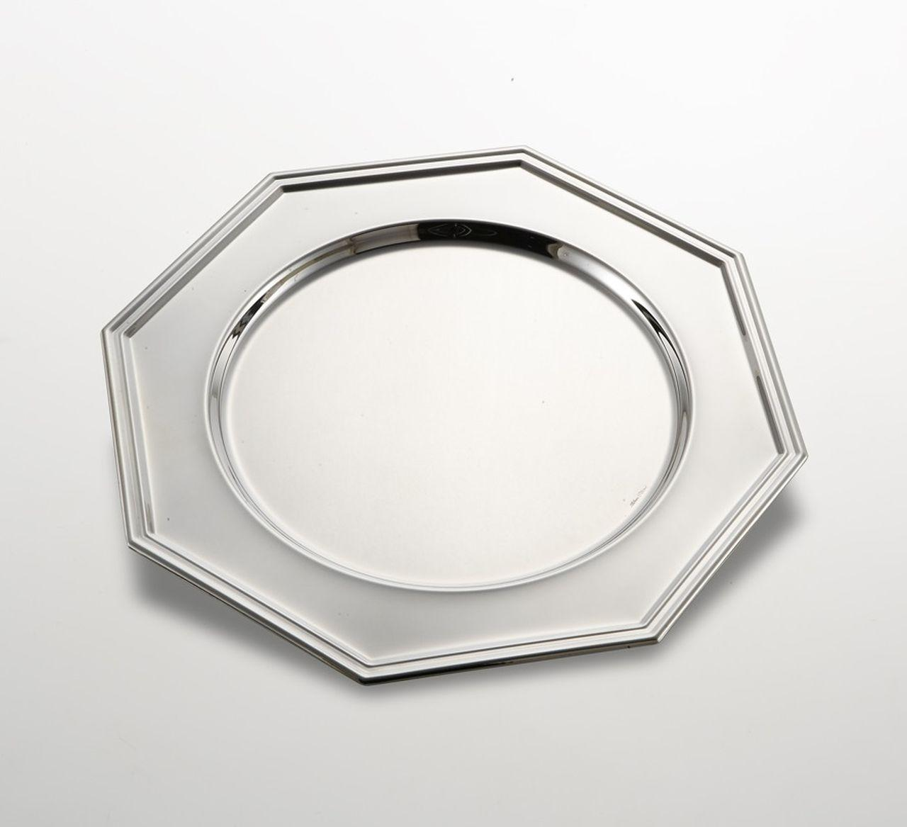 Sottopiatto ottagonale stile inglese argentato argento sheffield cm.diam.30