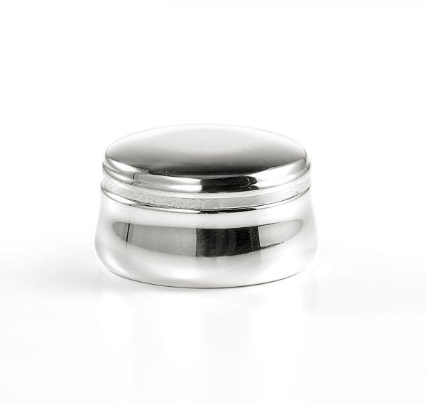 Scatola liscia bombata stile Cardinale argentato argento sheffield cm.4,5h diam.7,5
