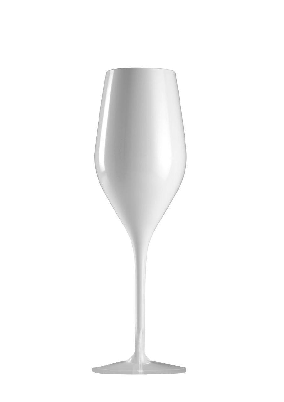 Bicchiere vetro flute ml 265 colore bianco stile white moon cm.22,3h diam.7