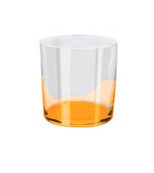 Bicchiere acqua arancio ml 390 stile burano cm.9,1h diam.8,6