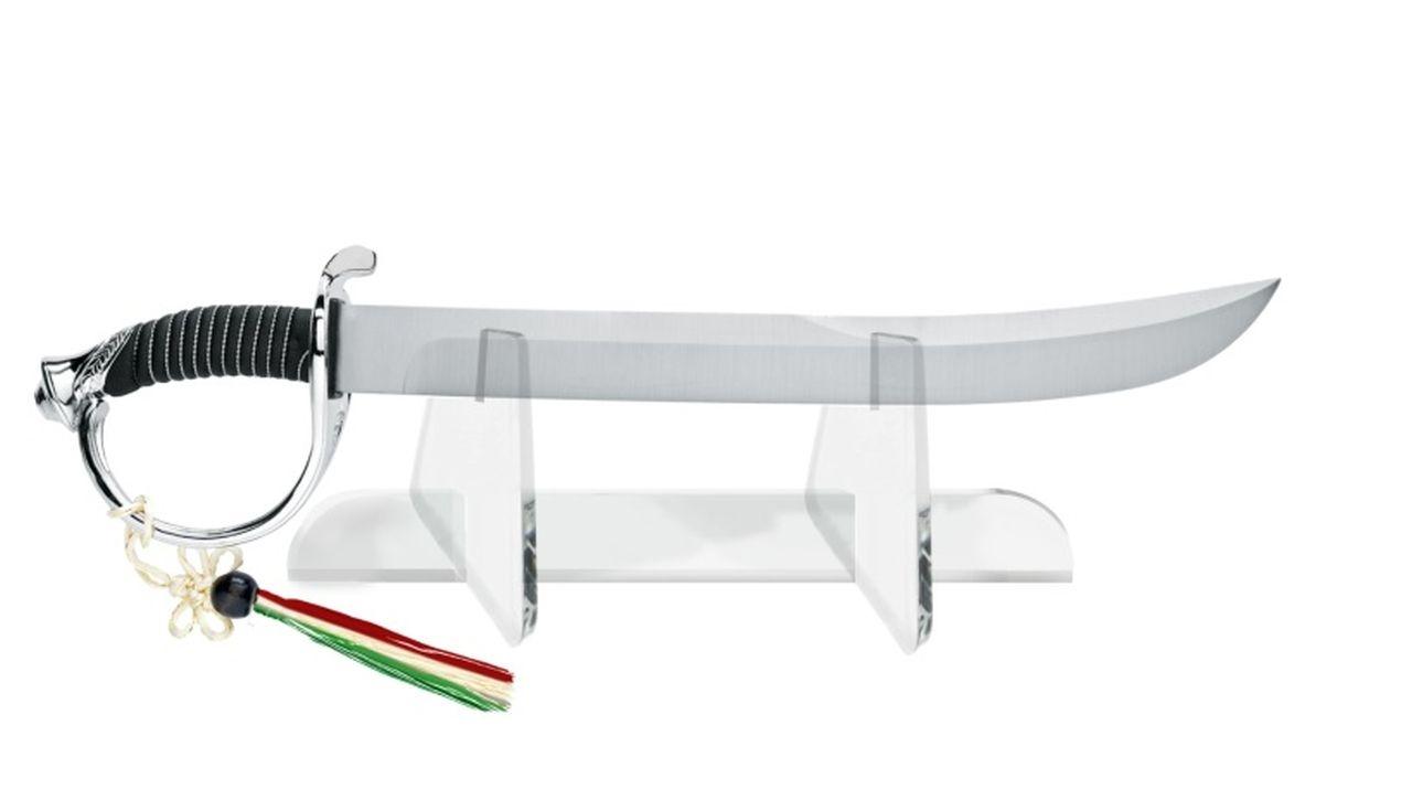 Spada in acciaio per scibolata con espositore in acrilico trasparente