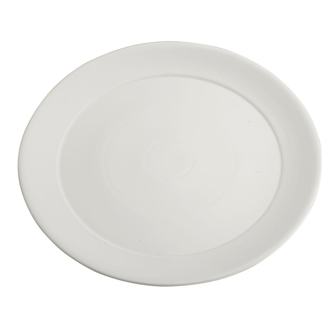 Piatto vassoio in porcellana bianca tondo con falda larga