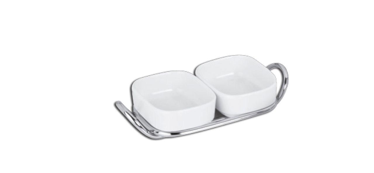 Servizio colazione in porcellana con supporto in acciaio stile filo