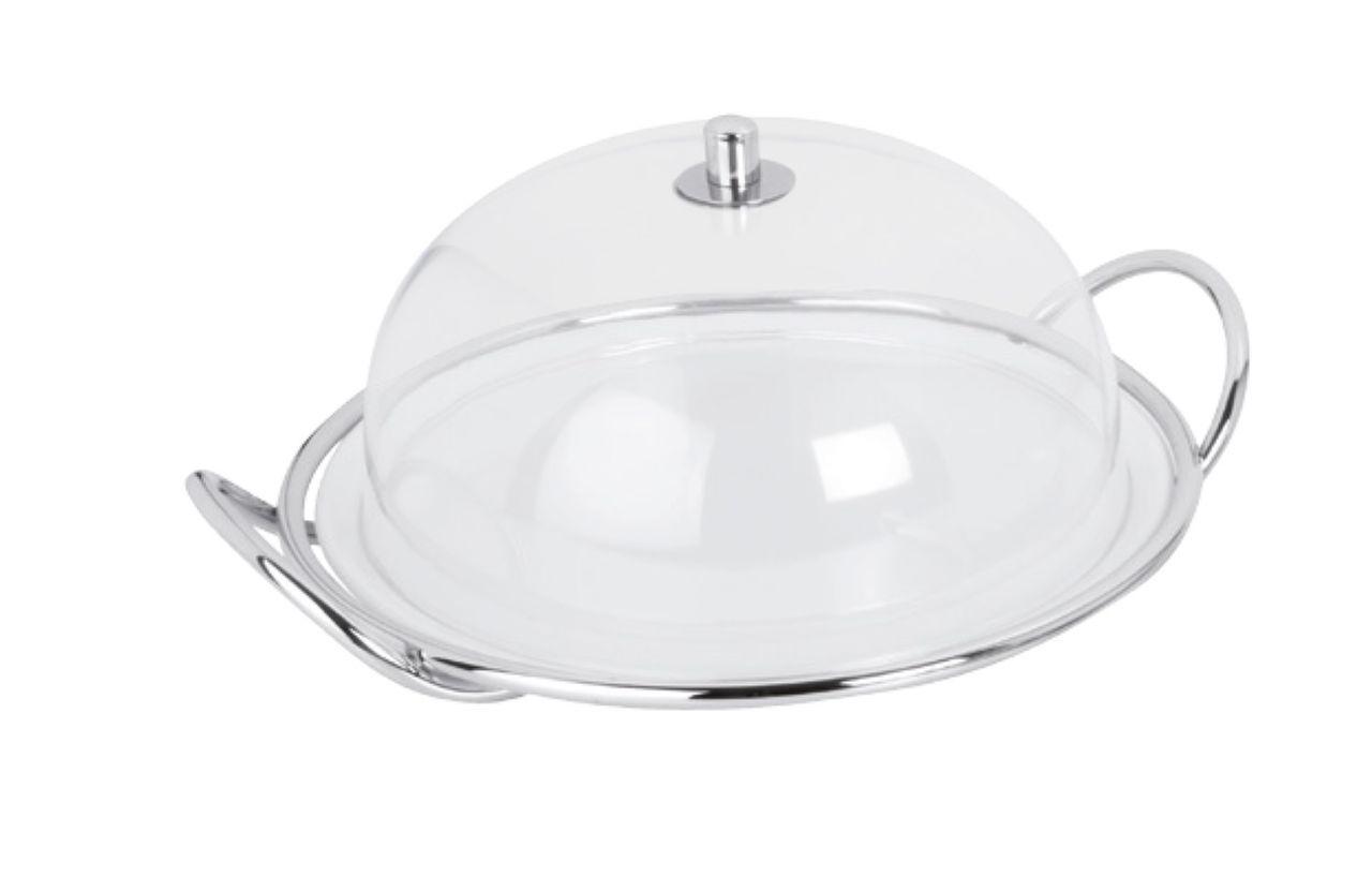 Piatto dolci in porcellana con cupola cloche in policarbonato e supprto in acciaio stile filo